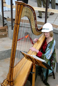 Heather in hard hat playing harp for a fundraiser for the conservatory in Golden Gate Park, San Francisco