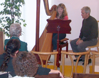 Harpist and teacher Paul Hurst conducts a harp master class for students from around the San Francisco Bay Area