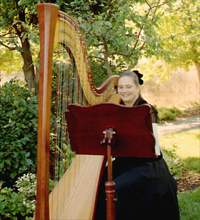 San Jose harp teacher and harpist Stephanie Janowski plays for a Mountain View wedding