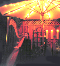 Birthday party harp music in Milpitas - by candlelight