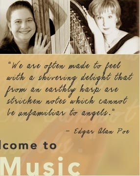 San Jose harpist and harp teacher Stephanie Janowski and Petaluma harpist and harp teacher Heather Paschoal